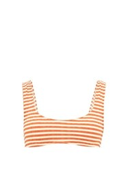 Solid And Striped The Elle Ribbed Jersey Bikini Top Red Stripe