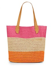 Saks Fifth Avenue Striped Straw Tote