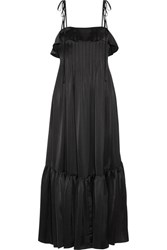 Co Ruffle Trimmed Pleated Satin Maxi Dress Black