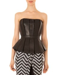 Balmain Pleated Leather Peplum Bustier Black