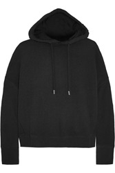 Rag And Bone Murphy Cropped Cotton Jersey Hooded Sweater Black