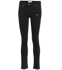 Valentino Embroidered Skinny Jeans Black