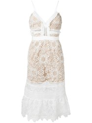 Self Portrait Lace Flared Dress White