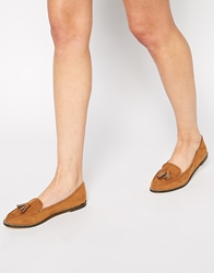 London Rebel Tassle Loafers Tan