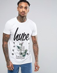 Hype T Shirt With Floral Japanese Print White