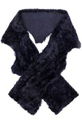 Karl Donoghue Shearling Scarf Midnight Blue