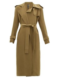 Norma Kamali Raw Edged Neoprene Trench Coat Khaki