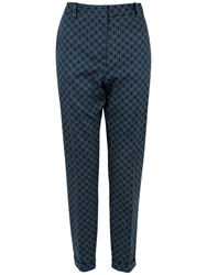 Closet Floral Cigarette Trousers Navy