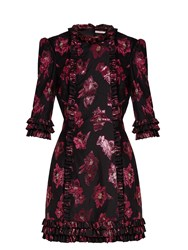 The Vampire's Wife Cate Floral Fil Coupe Mini Dress Black Pink