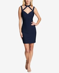 Guess Choker Neck Bodycon Dress Navy