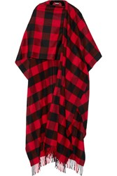 Balenciaga Plaid Wool And Cashmere Blend Wrap Red