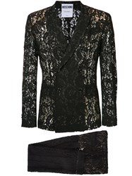 Moschino Sheer Lace Double Breasted Suit Men Polyamide Rayon 48 Black