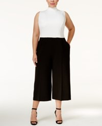 Rachel Roy Trendy Plus Size Colorblocked Jumpsuit White Black