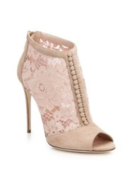 Dolce And Gabbana Lace And Suede Open Toe Booties Blush