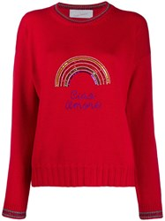 Giada Benincasa Rainbow Embellished Sweater Red