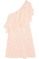 Rachel Zoe Leigh One Shoulder Ruffled Metallic Silk Blend Chiffon Mini Dress Peach