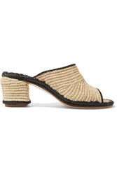 Carrie Forbes Rama Two Tone Woven Raffia Mules Beige