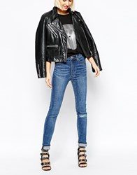 Cheap Monday Second Skin High Waist Skinny Jeans With Ripped Knees Blue