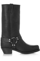 Frye Harness Shearling Lined Leather Boots Black