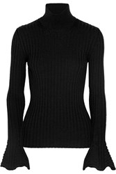 Lanvin Ribbed Wool Turtleneck Sweater Black