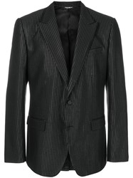 Dolce And Gabbana Metallic Dotted Blazer Silk Polyester Cupro Metallic Fibre Black