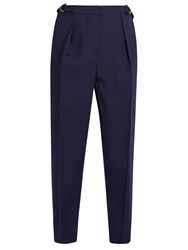 Roksanda Ilincic Surikov Wool Blend Cropped Trousers Navy