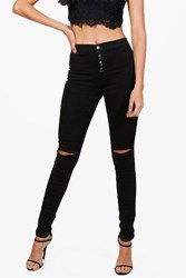 Boohoo High Waisted Button Fly Skinny Jeans Black