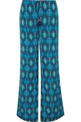Figue Saanchi Printed Crepe De Chine Wide Leg Pants Turquoise