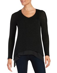 Design Lab Lord And Taylor Sparkle Knit Layered Top Black