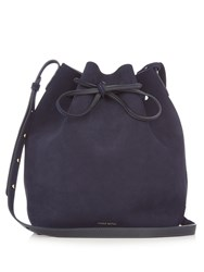 Mansur Gavriel Leather Lined Suede Bucket Bag Navy