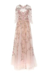 Marchesa Flutter Sleeve Embroidered Gown Pink
