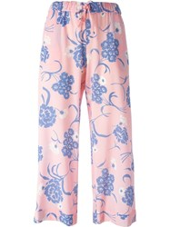 P.A.R.O.S.H. Cropped Floral Print Trousers Pink And Purple