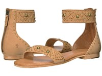 Frye Carson Deco Zip Sand Oiled Nubuck Women's Dress Sandals Tan