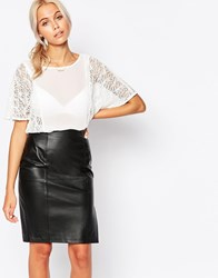 Jasmine Top With Lace Sleeves White