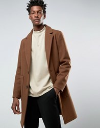 Asos Wool Mix Overcoat In Cocoon Fit In Brown Brown