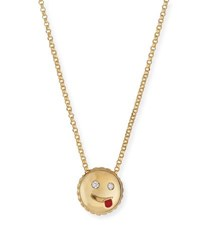 Roberto Coin Cheeky Emoji Pendant Necklace With Diamonds Gold