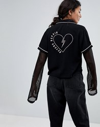 Lazy Oaf Beyond Repair Shirt With Heart Back Black