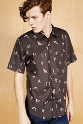 Forever 21 Ocean Current Graphic Shirt Black