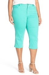 Plus Size Women's Nydj 'Ariel' Side Slit Stretch Twill Crop Pants Turquoise
