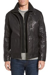 Cole Haan Men's Washed Leather Moto Jacket With Knit Bib Black