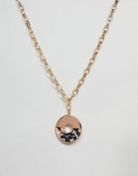 Asos Design Pendant Necklace With Resin And Metal Multi