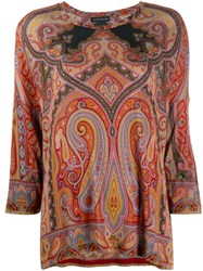 Etro Paisley Print Top Red