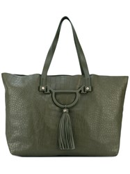 Borbonese Croc Effect Tote Women Leather One Size Green