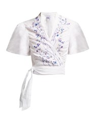 Thierry Colson Tamara Tree Of Life Embroidered Wrap Crop Top White Navy
