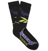 Vetements Reebok Logo Intarsia Cotton Blend Socks Black
