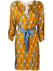 Alysi Patterned Fitted Dress Yellow