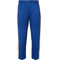 Gucci Poplin Trimmed Cotton Twill Suit Trousers Blue