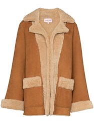 Natasha Zinko Graphic Print Shearling Jacket Brown