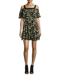 Grey By Jason Wu Ruffled Off The Shoulder Flower Print Silk Dress Midnight Blue