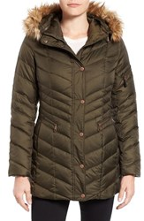 Andrew Marc New York Women's By Quilted Down Jacket With Faux Fur Trim Dark Olive